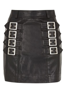 Topshop Leather Side Buckle Front Mini Skirt