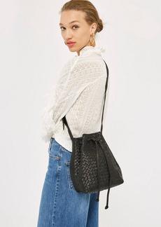 Topshop Leather Woven Bucket Bag