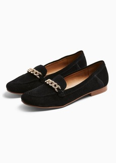 Topshop Leo Black Leather Chain Trim Loafers