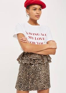 Leopard Print Ruffle Mini Skirt