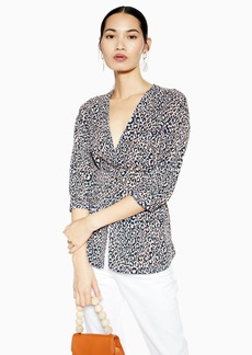 Topshop Leopard Self Belt Wrap Blouse