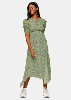 Topshop Clothing /Dresses /Lime Green Animal Print Ruched Sleeve Midi Dress