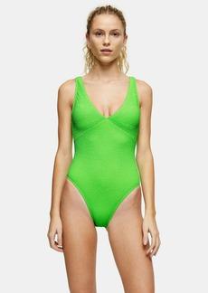 Topshop Lime Green Crinkle V Plunge Swimsuit