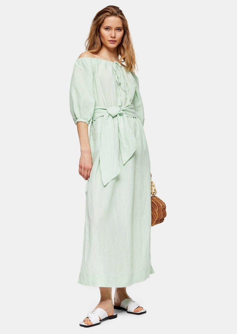 Topshop Linen Blend Belted Bardot Midi Dress