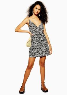 Topshop Linen Blend Button Matisse Mini Dress