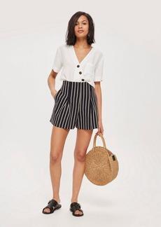 Topshop Linen Mix Striped Shorts