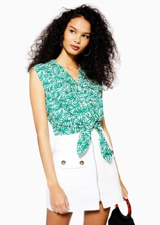 Topshop Linen Rich Palm Print Tie Front Shirt