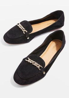 Topshop Loco Chain Trim Suede Loafers