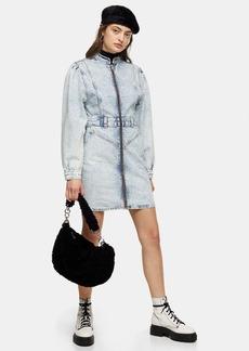 Topshop Long Sleeve S Acid Denim Shirt Dress