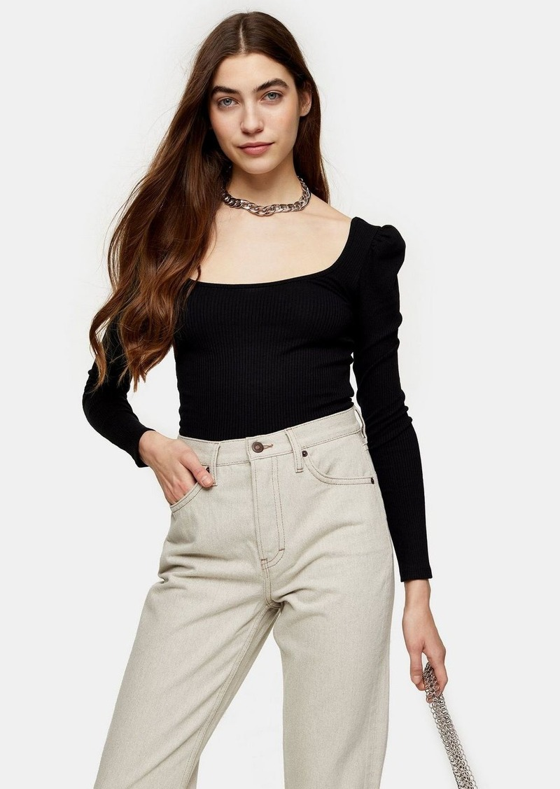 Topshop Long Sleeve Square Neck Puff