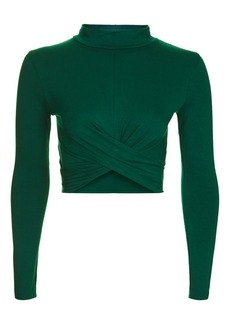 Topshop Long Sleeve Twist Front Crop Top