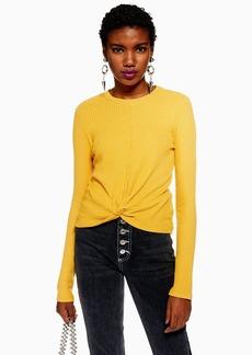 Topshop Long Sleeve Twist Waffle T Shirt