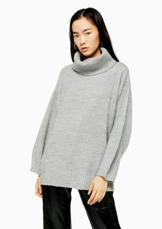 Topshop Longline Roll Neck Jumper With Wool