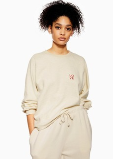 Topshop Love Brushed Borg Sweatshirt