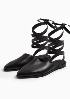 Topshop Luna Black Leather Ankle Tie Point Shoes