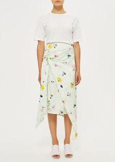 Marble Bloom Print Sash Skirt By Boutique