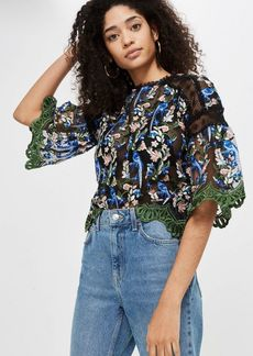 Topshop Mesh Embroidered Blouse