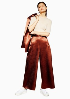 Topshop Metallic Awkward Cropped Trousers By Boutique