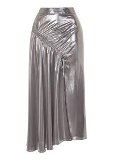 Metallic Ruched Split Skirt