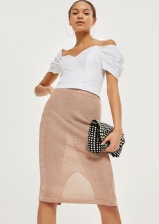 Topshop Metallic Yarn Midi Skirt