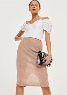 Topshop Metallic Yarn Midi Skirt