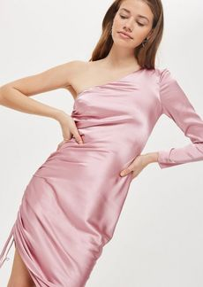 Midi Ruched One Shoulder Dress