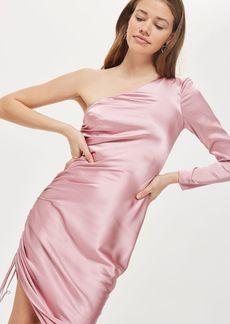 Topshop Midi Ruched One Shoulder Dress