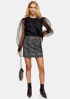 Topshop Mini Leopard Print Flocked Denim Skirt