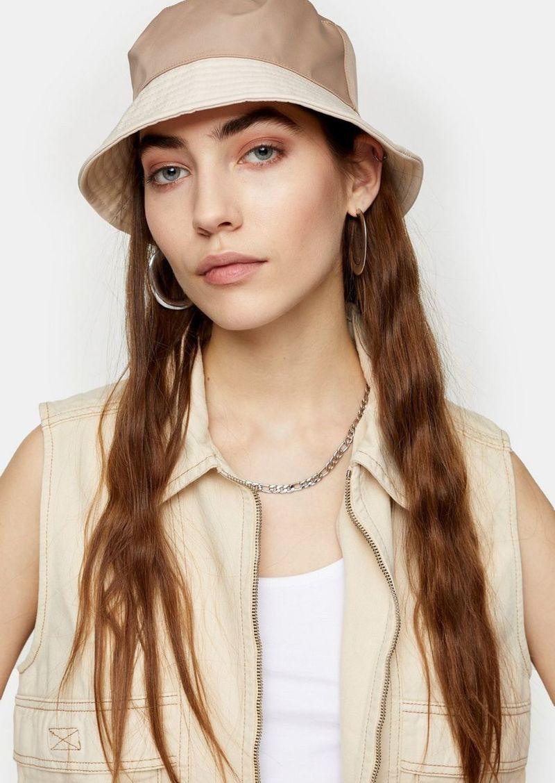 Topshop Mink Contrast Nylon Bucket Hat