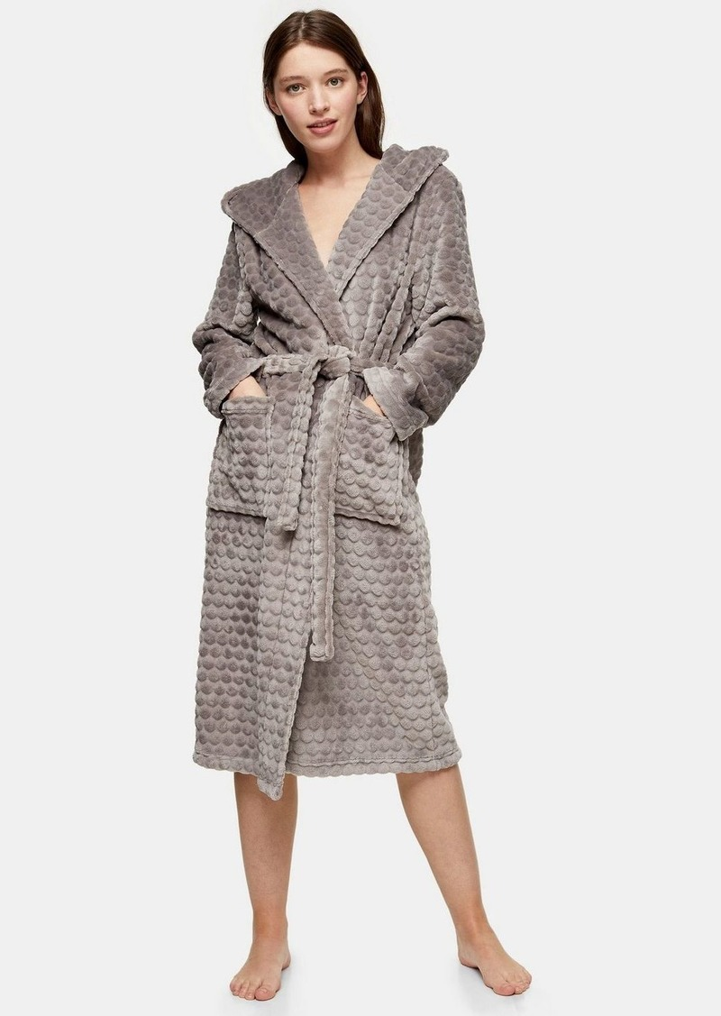 Topshop Mink Long Spot Textured Dressing Gown