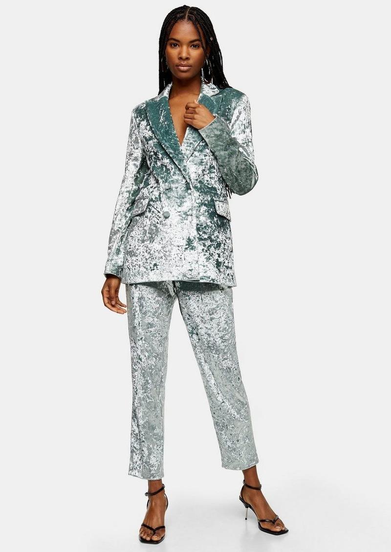 Topshop Mint Bonded Velvet Blazer