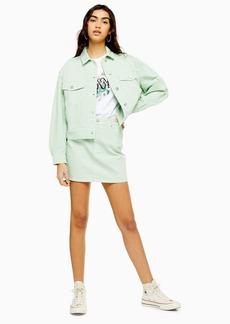 Topshop Mint Denim Mini Skirt