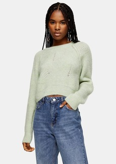 Topshop Mint Swirl Cropped Sweater