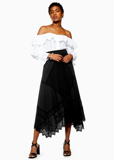 Topshop Mixed Broderie Midi Skirt