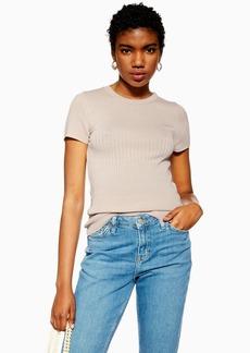 Topshop Mixed Ribbed T Shirt