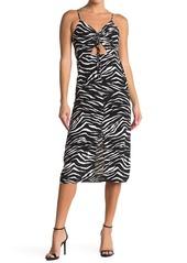 Topshop Molly Front Cutout Ruched Zebra Midi Dress