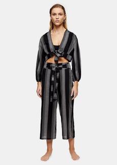Topshop Clothing /Swimwear Beachwear /Black And White Stripe Pants