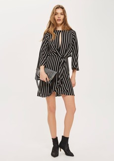 Monochrome Striped Knot Front Mini Dress