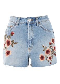 Topshop Moto Blossom Embroidered Mom Shorts