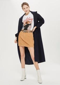 Moto Camel Cord Mini Skirt