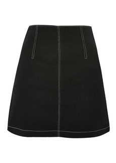 Moto Contrast Stitch A Line Denim Skirt