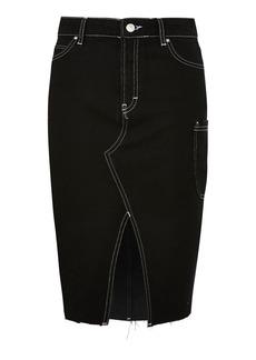 Moto Contrast Stitch Denim Midi Skirt