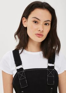 Moto Contrast Stitch Denim Pinafore Dress