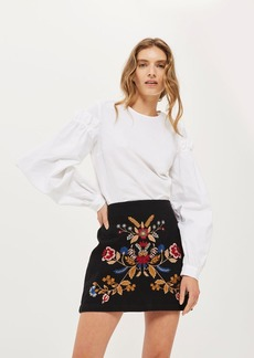 Moto Denim Embroidered A Line Skirt