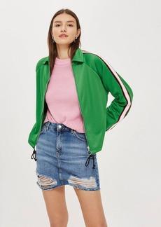 Topshop Moto Denim Ripped Mini Skirt