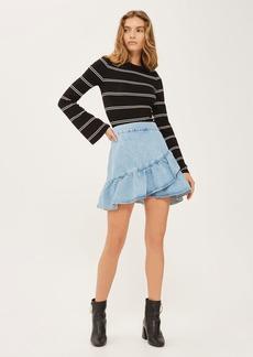 Moto Denim Ruffle Skirt