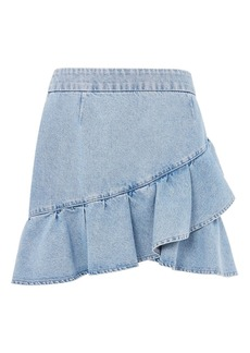 Moto Denim Ruffle Skirt