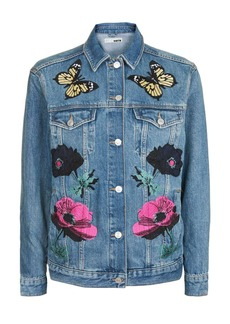 Moto Floral Applique Jacket