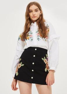 Moto Floral Button Denim Skirt