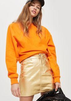 Topshop Moto Gold Denim Skirt
